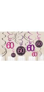 Lot de 12 Guirlandes spirale Sparkling Celebration roses Happy Birthday ''60''