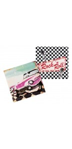 Lot de 12 serviettes jetables Rock 'n Roll 33 x 33 cm