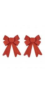 Lot de 2 noeuds paillettes rouges 14 x 19 cm