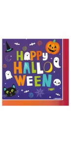 Lot de 20 serviettes jetables fantôme blanches Halloween 11 x 14 cm