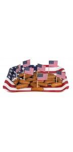 Lot de 24 pics en bois avec drapeau USA 7 cm