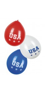 Lot de 3 ballons USA bleu blanc rouge D 25 cm