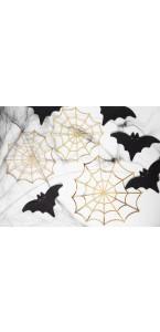 Lot de 3 toiles d'araignées en or Halloween