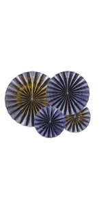 Lot de 4 Rosaces Bleues et or 23 , 32, 40 cm