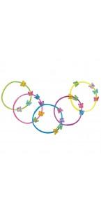 Lot de 5 Bracelets avec papillons D 6,5 cm