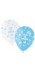 Lot de 6 ballons latex Baby Shower garçon 30 cm