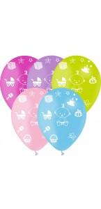 Lot de 5 ballons latex Baby Shower mixte 30 cm