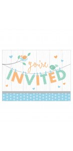 Lot de 8 cartes invitation Baby Shower garçon - 16 x 11 cm