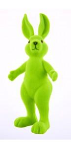 Lapin flocké vert debout 13,5 x 31 cm