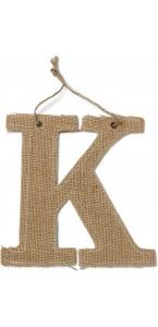 Lettre K en jute 15,5 cm