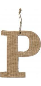 Lettre P en jute 15,5 cm