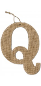 Lettre Q en jute 15,5 cm