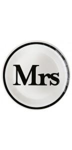 Lot de 10 assiettes carton Mr & Mrs blanches D 22,5 cm