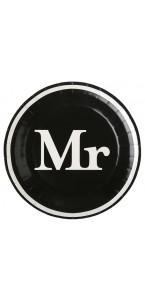 Lot de 10 assiettes carton Mr & Mrs noires D 22,5 cm
