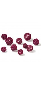 Lot de 10 boules osier fuschia
