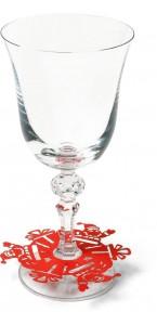 Lot de 10 déco pied de verre Père Noël 9,5 cm