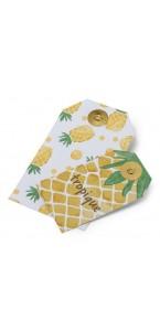 Lot de 10 Etiquettes Ananas/Tropique 13 x 7,5 cm- 9,5 x 5,5 cm