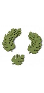 Lot de 10 Feuilles Tropicale vertes en bois 6 x 4,5 cm
