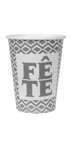 Lot de 10 gobelets argent Fête en carton D 7,8 cm x 9,7 cm