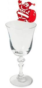Lot de 10 marque-verre Père Noël 7,5 x 6 cm