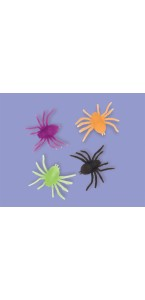 Lot de 12 araignées fluo Halloween en plastique 4,4 cm x 3,5 cm