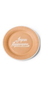 Lot de 12 assiettes jetables Joyeux anniversaire Kraft et blanc  en carton D 23