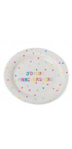 Lot de 12 assiettes jetables Joyeux anniversaire Tutti Frutti  en carton D 23 cm