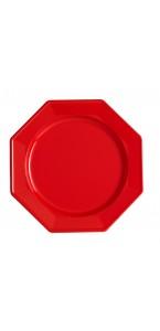 Lot de 12 assiettes octogonales jetables rouges GM
