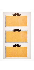 Lot de 12 étiquettes avec moustache auto-collantes