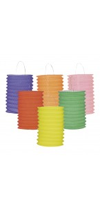Lot de 12 lampions cylindrique 13 cm coloris unis assortis