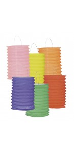 Lot de 12 lampions cylindrique 16 cm coloris unis assortis