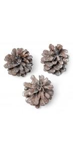 Lot de 12 pommes de pin cérusé 5 cm