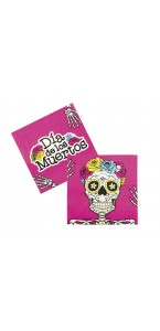 Lot de 12 Serviettes jetables Day Of The Dead Halloween 33 X 33 Cm