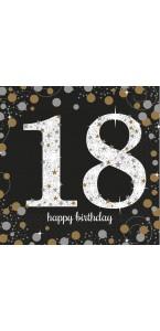 Lot de 16 serviettes jetables en papier Sparkling Celebration 18 ans 33x 33 cm