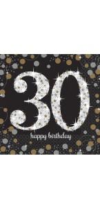 Lot de 16 serviettes jetables en papier Sparkling Celebration 30 ans 33x 33 cm