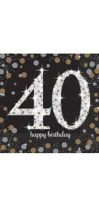 Lot de 16 serviettes jetables en papier Sparkling Celebration 40 ans 33x 33 cm