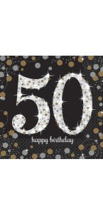 Lot de 16 serviettes jetables en papier Sparkling Celebration 50 ans 33x 33 cm