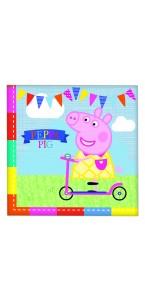 Lot de 16 serviettes jetables Peppa Pig en papier  33 x 33 cm