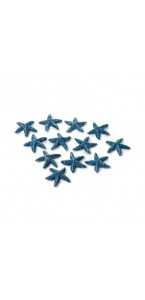 Lot de 18 étoiles de mer bleu ciel en bois 3 cm