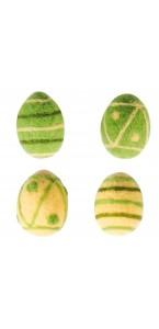 Lot de 2 œufs feutre jaune et vert 6 cm