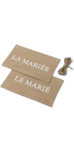Lot de 2 Dos de chaise en jute imprimés Marié et Mariée 20 x 13 cm