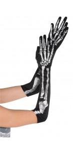 Lot de 2 gants longs noirs Squelette Halloween