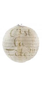 Lot de 2 lanternes ivoire en papier C'est la fête D 20 cm.