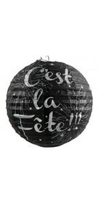 Lot de 2 lanternes noires en papier C'est la fête D 20 cm.