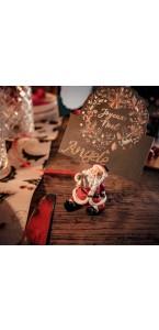 Lot de 2 Marque-place Père Noël en résine 4,5 x 10,5 cm