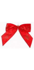 Lot de 2 nœuds Joyeuses fêtes rouges sur pince 11 x 13 cm