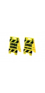Lot de 2 Panneaux jaunes danger-zombie crossing Halloween PM