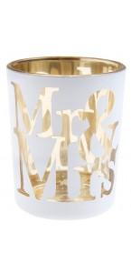 Lot de 2 photophores Mr & Mrs en verre blanc