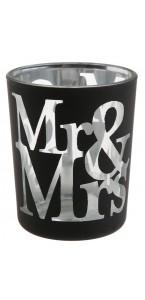 Lot de 2 photophores Mr & Mrs en verre noir