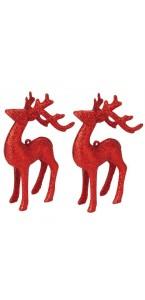 Lot de 2 rennes rouges à suspendre